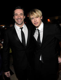 Jon Hamm and Chord Overstreet at the after party of Weinstein Company's SAG.