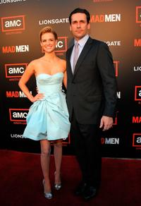 January Jones and Jon Hamm at the premiere of