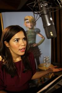 America Ferrera on the set of