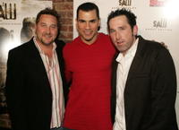 Producer Greg Hoffman, Franky G. and Lynn Bousman at the DVD release party for the special uncut edition of