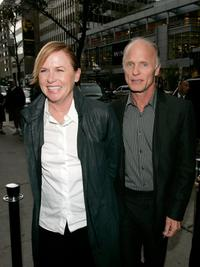 Ed Harris and Amy Madigan at the cocktail party of
