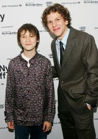 Owen Kline and Jesse Eisenberg at the premiere of