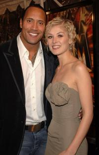 Dwayne Johnson and Rosamund Pike at the premiere of