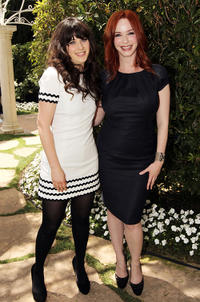 Zooey Deschanel and Christina Hendricks at the Critic's Choice Television Awards in California.