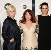 Laura Harris, Aubrey Dollar and Angie Harmon at the ABC Upfront presentation.