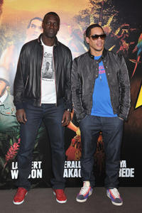 Omar Sy and Joey Starr at the Paris premiere of