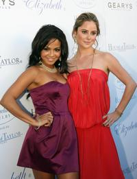 Christina Milian and Amanda Brooks at the Geary's where Dame Elizabeth Taylor unveiled her House Of Taylor Jewelry Inc holiday collection.