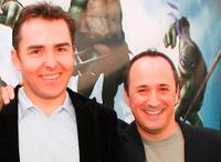 Nolan North and Mitchell Whitfield at the premiere of