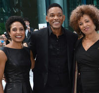 Director Shola Lynch, producer Will Smith and Angela Davis at the premiere of