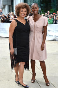 Angela Davis and guest at the premiere of