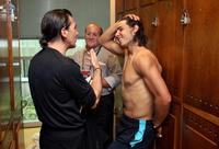 Antonio Banderas and Rafael Nadal at the French Tennis Open quarter final match.