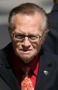 Larry King at the Merv Griffin's funeral ceremony.