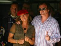 Zoe Bell and Director Quentin Tarantino at the European Grand Prix.