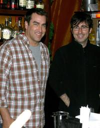 Rob Riggle and John Oliver at the 2008 Stockings with Care celebrity bartending night.