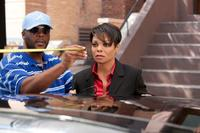 Director/producer Tyler Perry and Janet Jackson on the set of