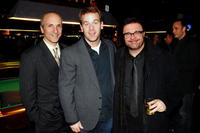 Director Seth Barrish, Mike Birbiglia and Nathan Lane at the opening night celebration of