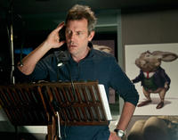 Hugh Laurie on the set of