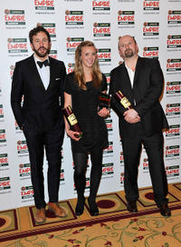Chris O'Dowd, Maeve Stram and Neil Marshall at the Jameson Empire Awards in London.