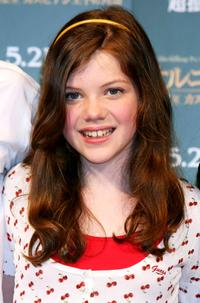 Georgie Henley at the press conference to promote