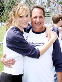 Jon Lovitz and Molly Sims at the pre-premiere softball game with