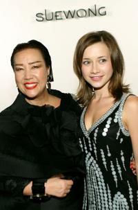 Designer Sue Wong and Olesya Rulin at the Mercedes Benz Fashion Week.