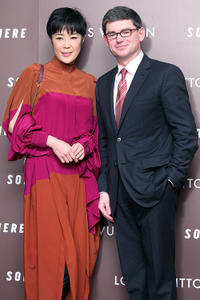 Shinobu Terajima and President and CEO of Louis Vuitton Japan Company Frederic Grangie at the premiere and Reception of