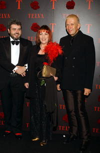Carmen Maura, Lorenzo Caprile and Jean Paul Gaultier at the