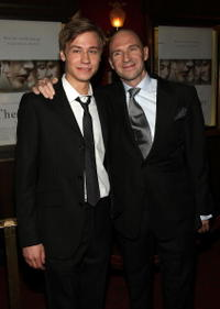 David Kross and Ralph Fiennes at the premiere of