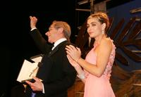 Emmanuelle Beart and Ken Loach at the Palme d'Or Award Ceremony at the 59th International Cannes Film Festival.