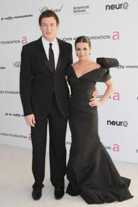 Cory Monteith and Lea Michele at the 18th Annual Elton John AIDS Foundation's Oscar Viewing party.