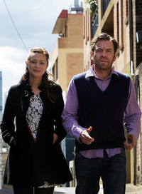 Maeve Dermody and Brendon Cowell at the 2011 season launch of the Belvoir Street Theatre in Australia.