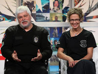 Paul Watson and quartermaster Shannon Mann at the Discovery Channel 2008 Summer Television Critics Association Press Tour in California.