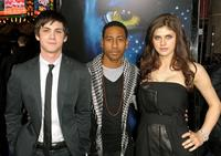 Logan Lerman, Brandon T. Jackson and Alexandra Daddario at the premiere of