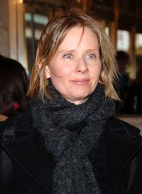 Cynthia Nixon at the Robert Altman Memorial at the Majestic Theater in New York City.