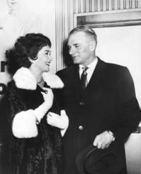 Joan Plowright and Sir Laurence Olivier at their marriage.