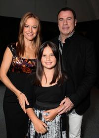 Kelly Preston, Ella Bleu Travolta and John Travolta at the opening Ceremony of Disney's Inaugural D23 Convention.