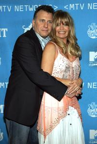 Paul Reiser and Goldie Hawn at the backstage of MTV Networks Upfront.