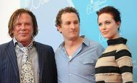 Mickey Rourke, Director Darren Aronofsky and Evan Rachel Wood at the photocall of