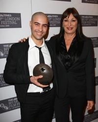Tahar Rahim and Anjelica Huston at the Times BFI 53rd London Film Festival Awards.