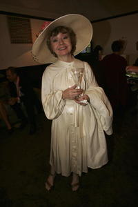 Prunella Scales at the Crown Oaks Day at Flemington Racecourse.
