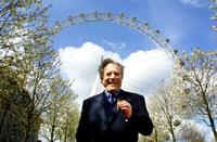 George Segal at the trip of the London Eye to promote tourism in London and try to persuade tourists to return since bad publicity over the foot-and-mouth disease hit Britain.