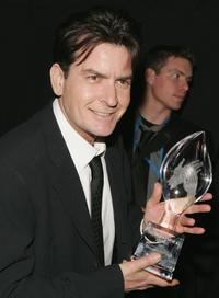 Charlie Sheen at the backstage during the 33rd Annual Peoples Choice Awards held at the Shrine Auditorium.