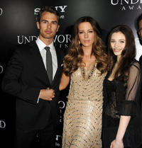 Theo James, Kate Becksinsale and India Eisley at the California premiere of