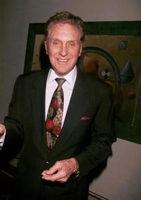 Robert Stack at the Merv Griffins Coconut Club for a special performance by Polly Bergen prior to opening on Broadway in