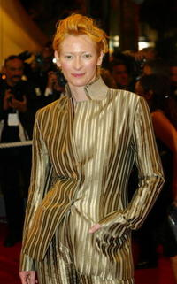 """Tilda Swinton at the """"Clean"""" premiere in Cannes, France."""