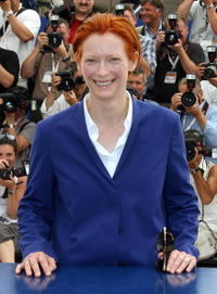 """Tilda Swinton at a photocall for """"The Man from London"""" in Cannes, France."""