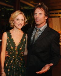 Tracey Middendorf and Hart Bochner at the premiere of