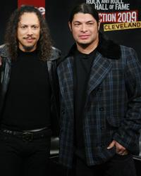 Kirk Hammett and Robert Trujillo at the Rock & Roll Hall of Fame 2009 inductee announcement.