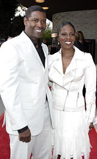 Denzel Washington and his wife Pauletta at the Westwood premiere of
