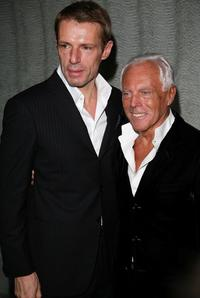 Lambert Wilson and Giorgio Armani at the Giorgio Armani Prive Spring/Summer 2008 Haute Couture Collection Show.